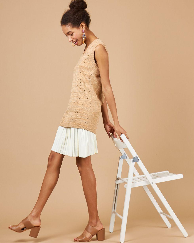 12Storeez Комплект жилет и плиссированная юбка бежевыймолочный