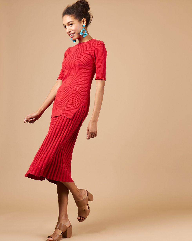 Костюм: джемпер с юбкой SКомплекты<br><br><br>Артикул: 84412855<br>Размер: S<br>Цвет: Красный/Бордовый<br>Новинка: ДА<br>Наименование en: Rib knit top and midi skirt co-ord