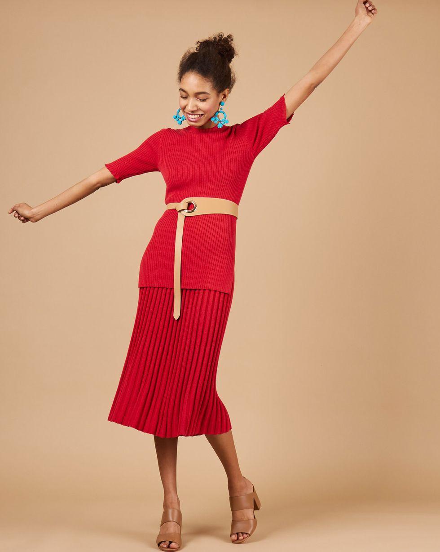 12Storeez Костюм: свитер с короткими рукавами и юбка миди в рубчик (меланж красный/бордовый) цена 2017