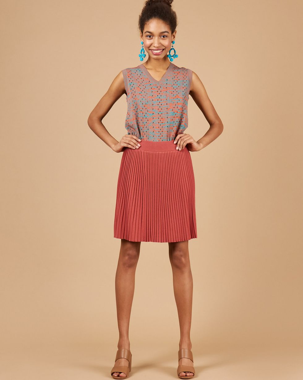 12Storeez Комплект жилет и плиссированная юбка зеленыйкоричневый