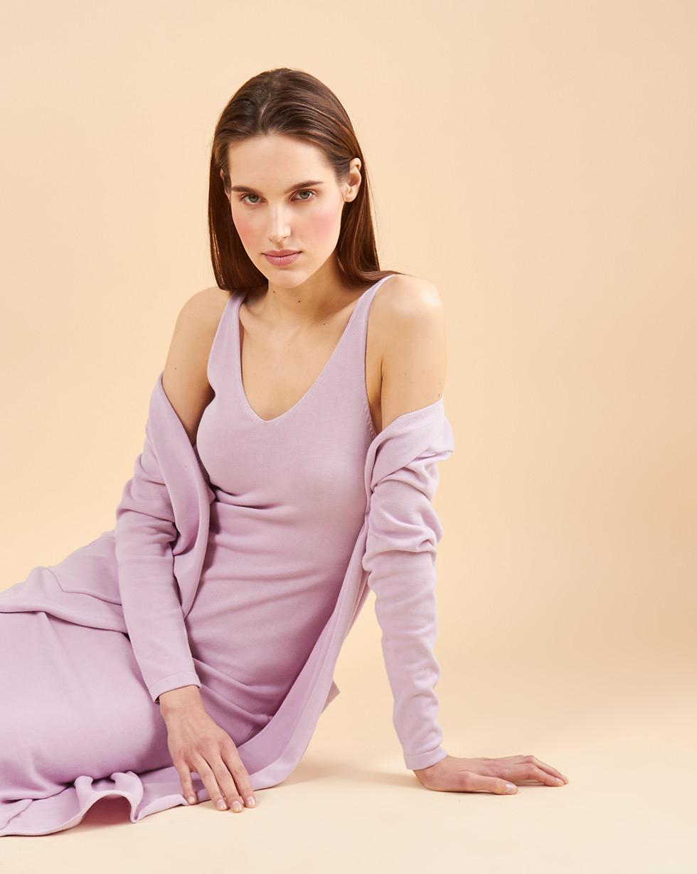 12Storeez Комплект: платье миди и кардиган без застежки (сиреневый)