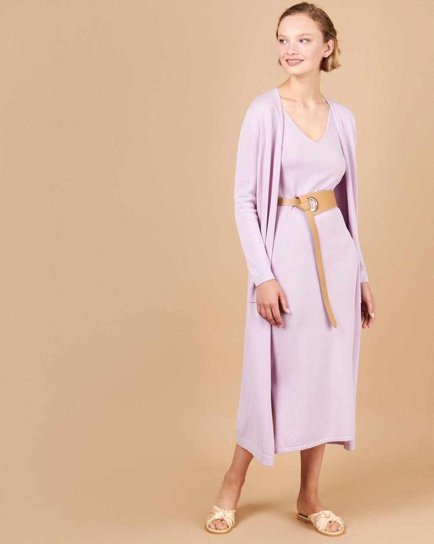12Storeez Комплект:платье миди и кардиган без застежки (сиреневый) 12storeez комплект жилет и плиссированная юбка светло сиреневый сиреневый