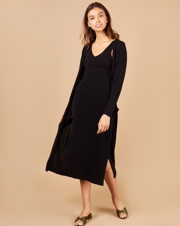 12Storeez Комплект: платье миди и кардиган (черный) 12storeez платье миди в мелкий горошек черный
