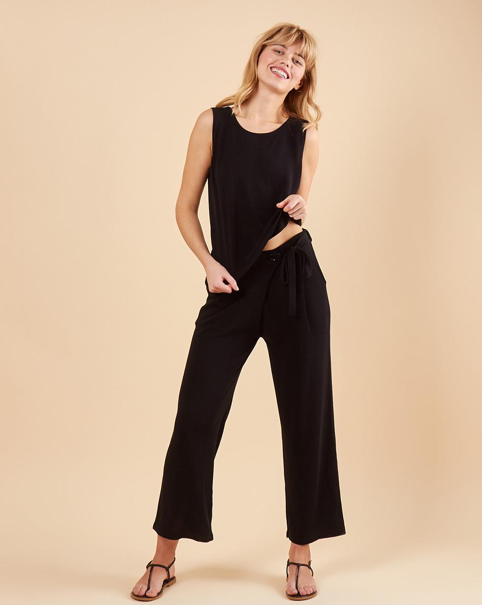12Storeez Костюм: топ и укороченные брюки (черный) 12storeez комплект свитер и брюки укороченные из трикотажа бордовый