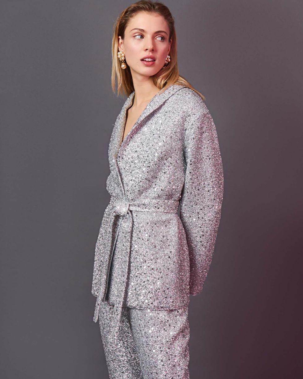 Купить со скидкой Костюм: Жакет и брюки из ткани металлик S