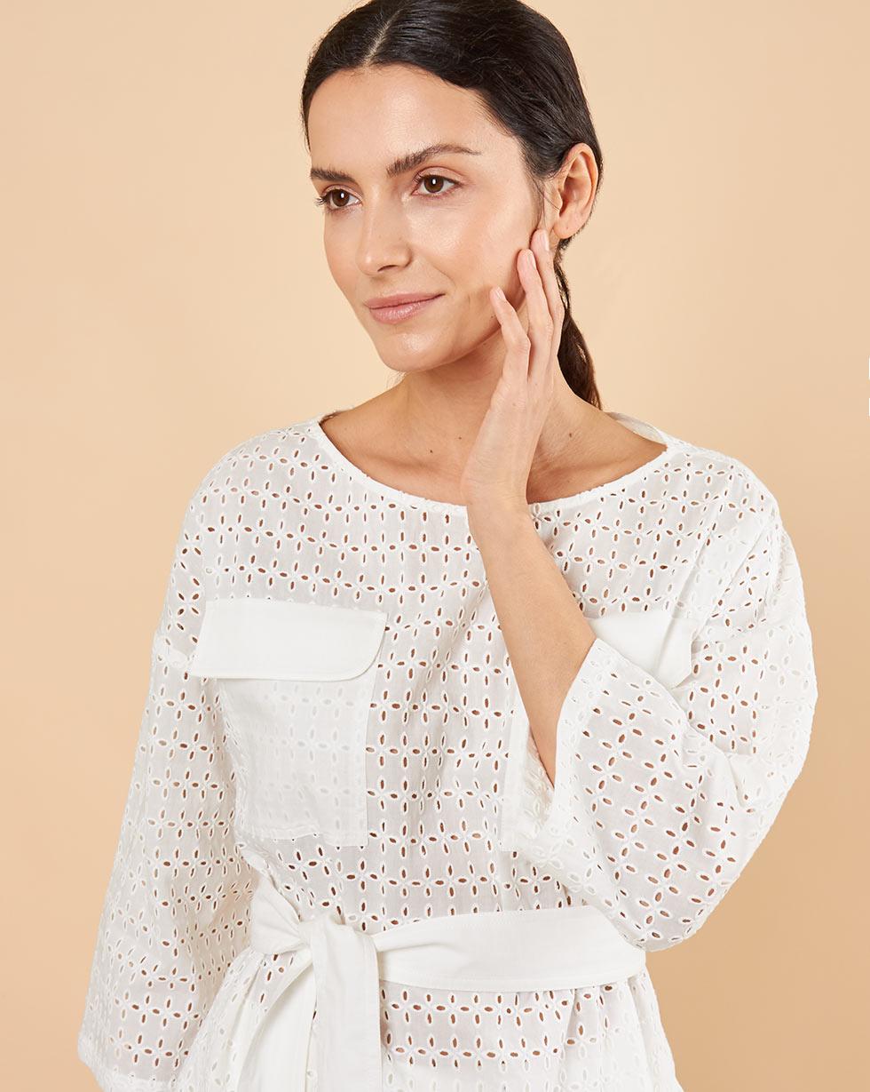 12Storeez Блуза из шитья с поясом (белый)