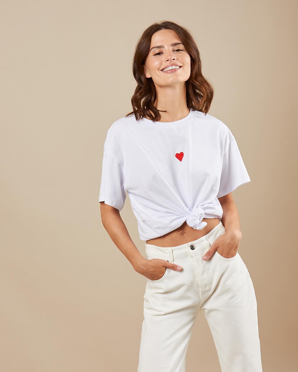 12Storeez Футболка с вышивкой сердечко (белый)