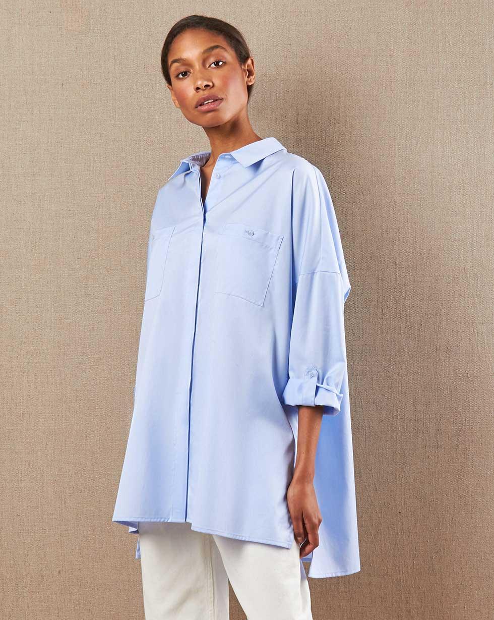 12Storeez Рубашка с карманами (голубой в клетку) 12storeez рубашка с карманами в мелкую клетку белый