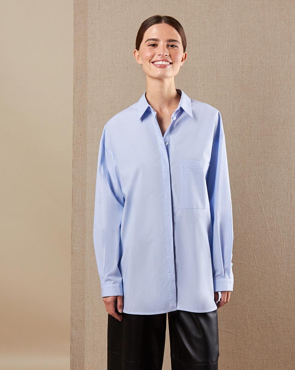 12Storeez Рубашка BL65/022 (Голубой в полоску)