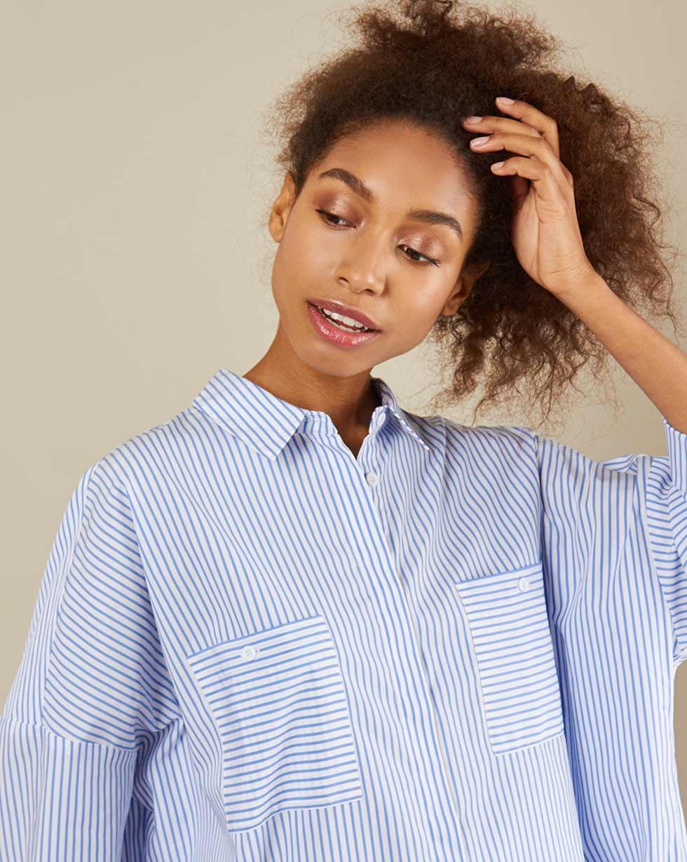 12Storeez Рубашка BL65-023 (Бело-голубой в полоску)