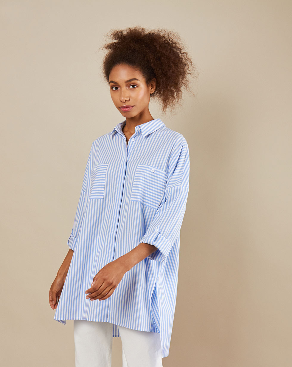 12Storeez Рубашка BL65-023 (Бело-голубая полоска) 12storeez блуза свободная серо голубая полоска
