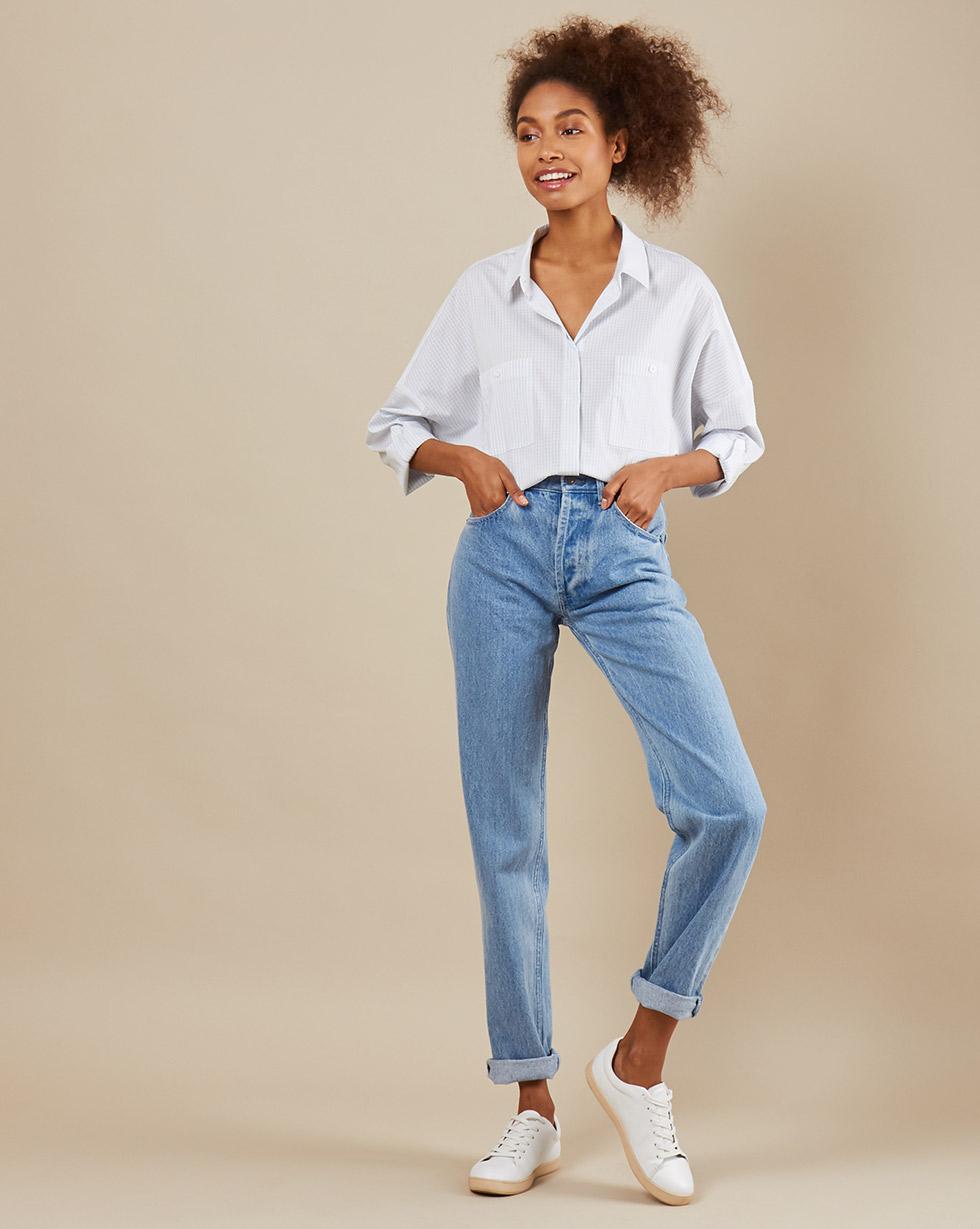 12Storeez Рубашка BL65-023 (Белый в синюю полоску)