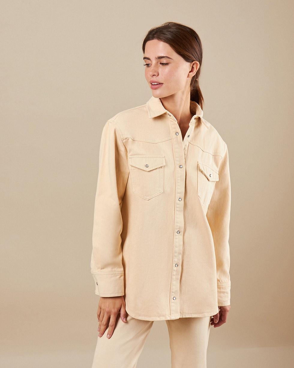 12Storeez Рубашка из денима D29/001 (Песочный)