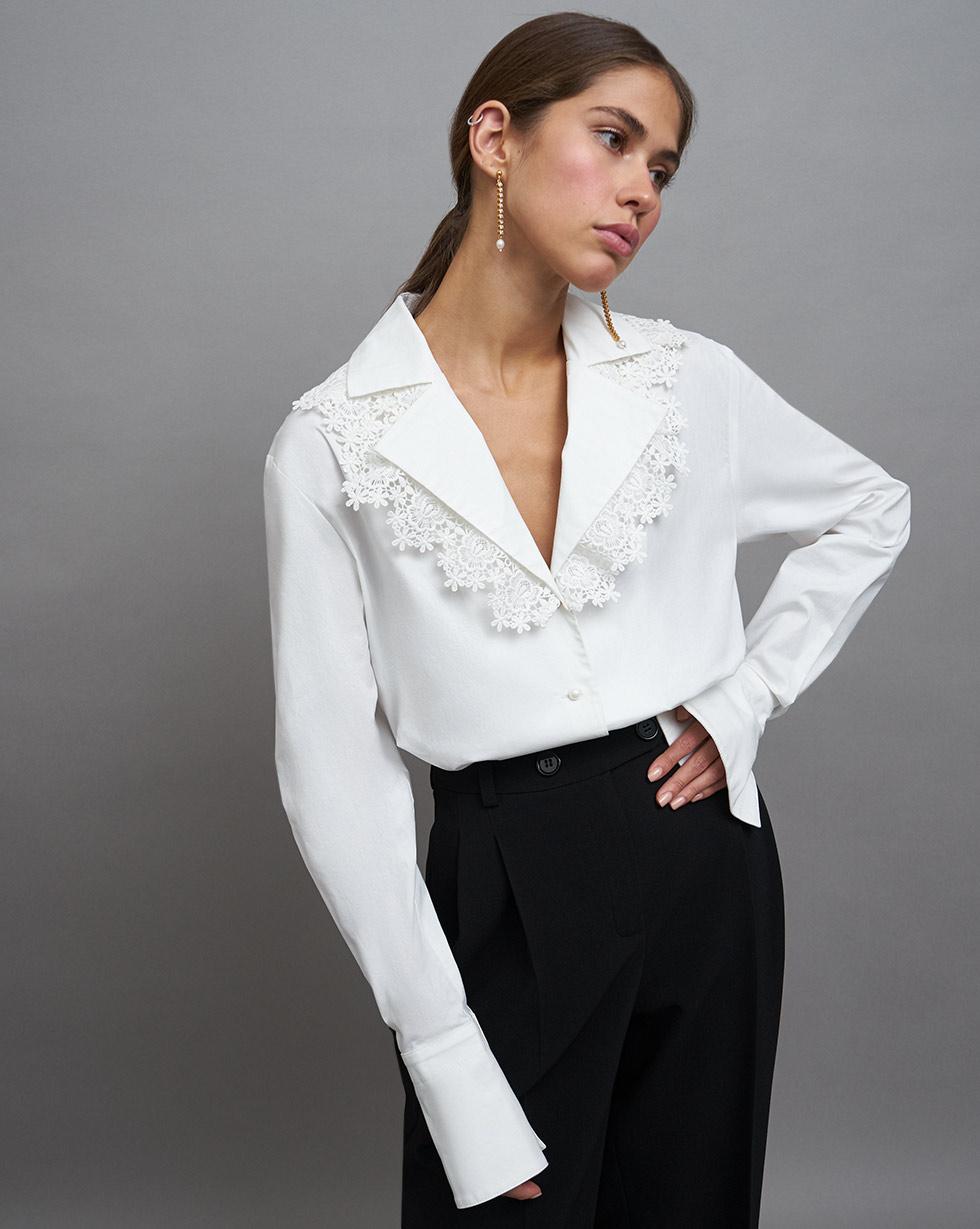 12Storeez Блуза с кружевным воротником (Белый) 12storeez блуза удлиненная с круглым воротником коричневый