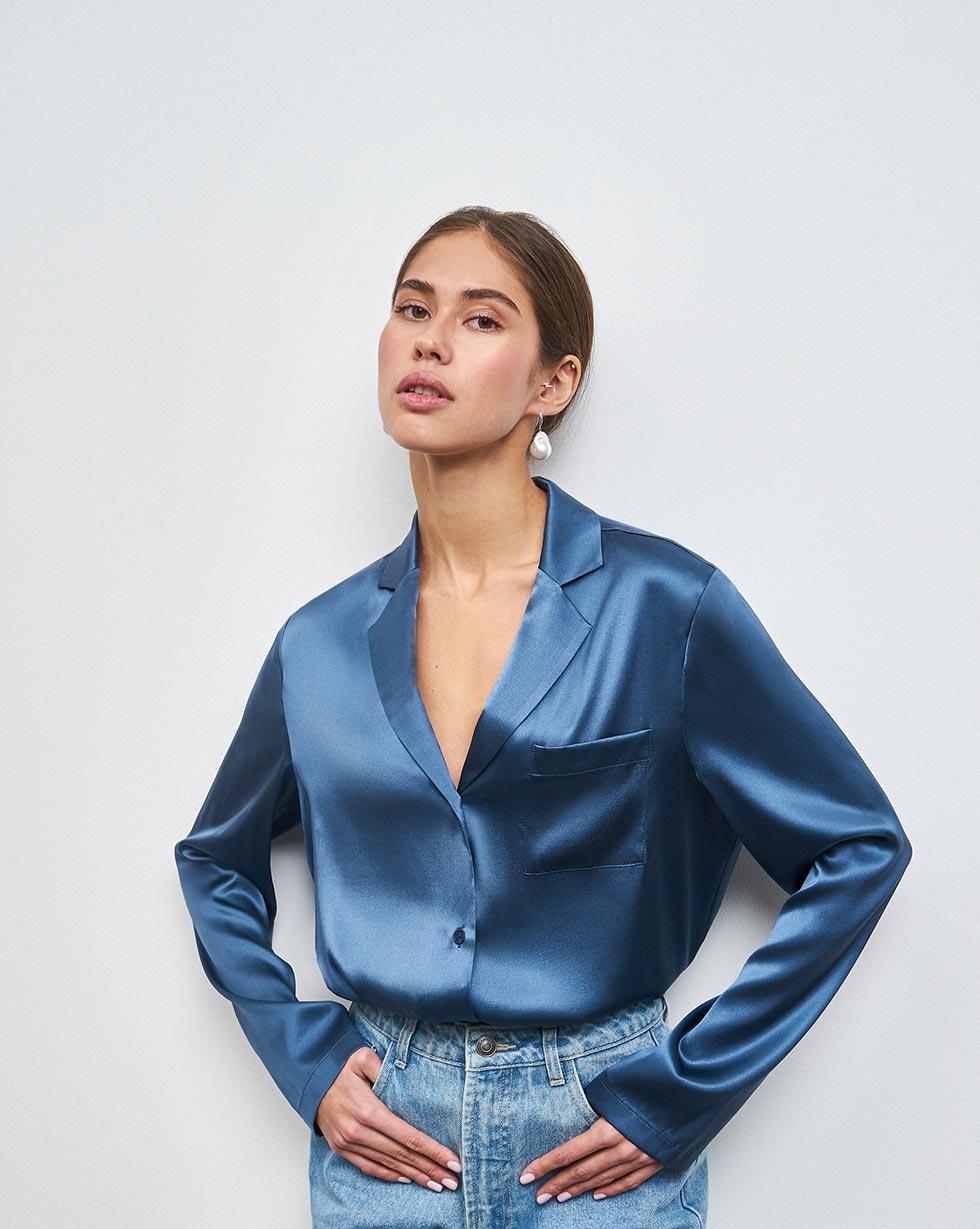 цена 12Storeez Блуза на пуговицах, из шелка онлайн в 2017 году