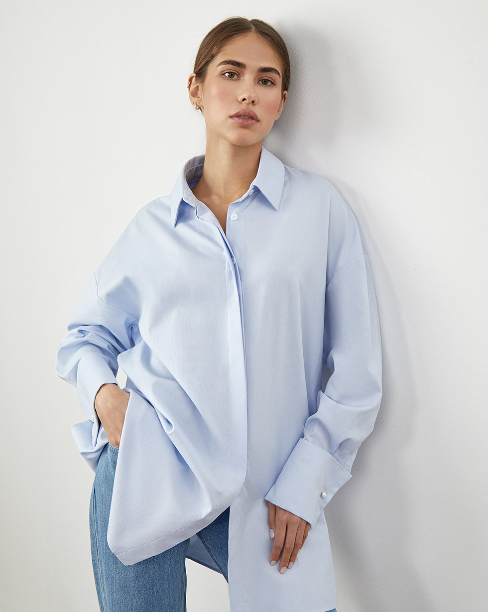 цена 12Storeez Рубашка объемная с широкими манжетами (Голубой) онлайн в 2017 году