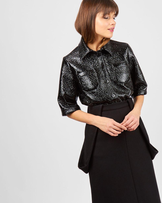 12Storeez Рубашка из лакированной кожи (черный) blog