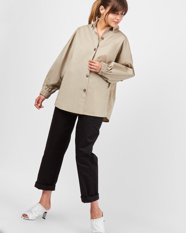 Рубашка из плотного хлопка One sizeРубашки<br><br><br>Артикул: 230010456<br>Размер: One size<br>Цвет: Кофе с молоком<br>Новинка: НЕТ<br>Наименование en: Puff sleeve cotton shirt