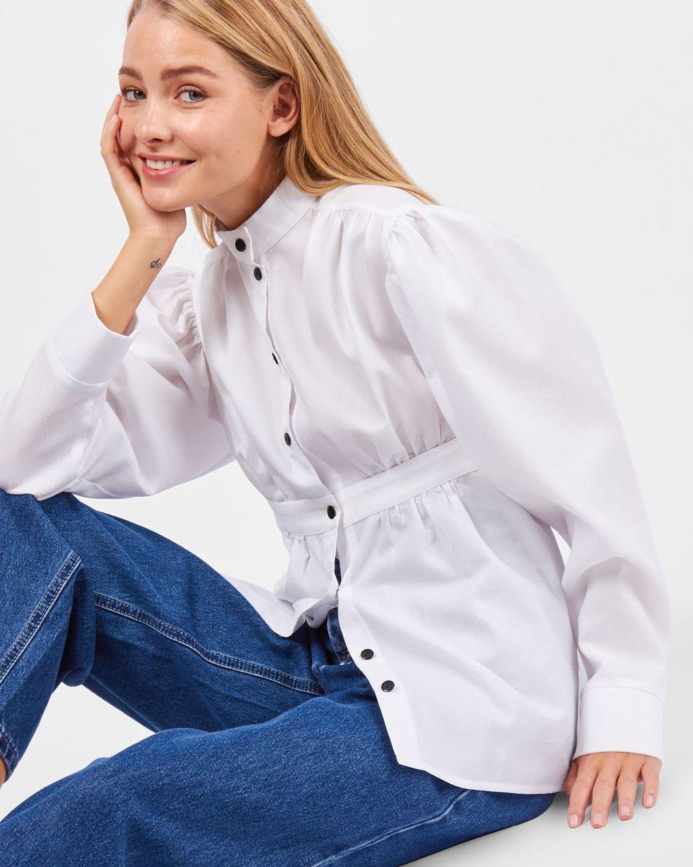 12Storeez Рубашка с завышенной талией (белый) рубашка прямого покроя большого размера с контрастными пуговицами