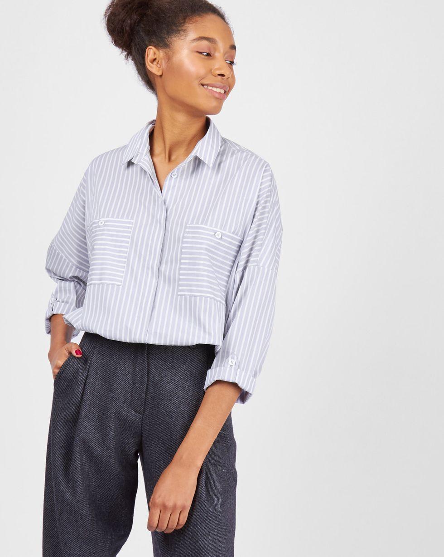 Рубашка с карманами в широкую полоску One sizeРубашки<br><br><br>Артикул: 230010711<br>Размер: One size<br>Цвет: Серый<br>Новинка: НЕТ<br>Наименование en: Oversized striped shirt