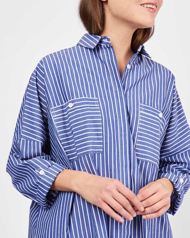 12Storeez Рубашка с карманами в широкую полоску (темно-синий)