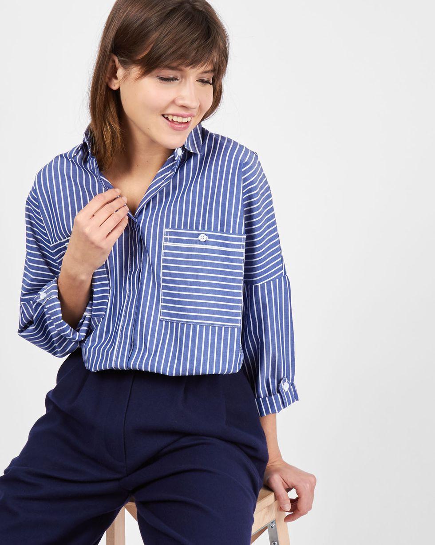 Рубашка с карманами в широкую полоску One sizeРубашки<br><br><br>Артикул: 230010712<br>Размер: One size<br>Цвет: Темно-синий<br>Новинка: НЕТ<br>Наименование en: Oversized striped shirt