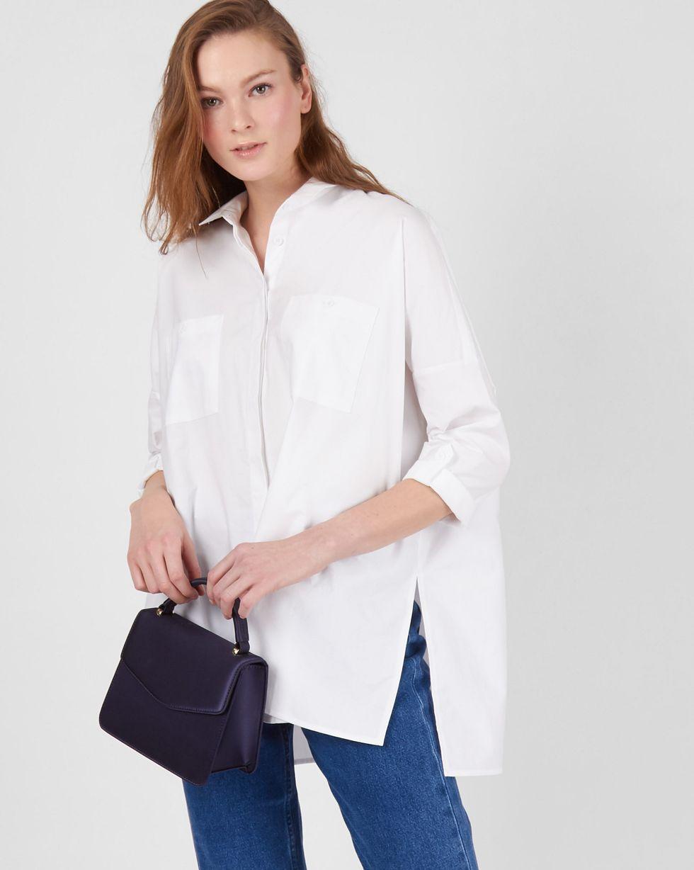Рубашка с карманами однотонная One sizeРубашки<br><br><br>Артикул: 230010713<br>Размер: One size<br>Цвет: Белый<br>Новинка: НЕТ<br>Наименование en: Plain oversized shirt
