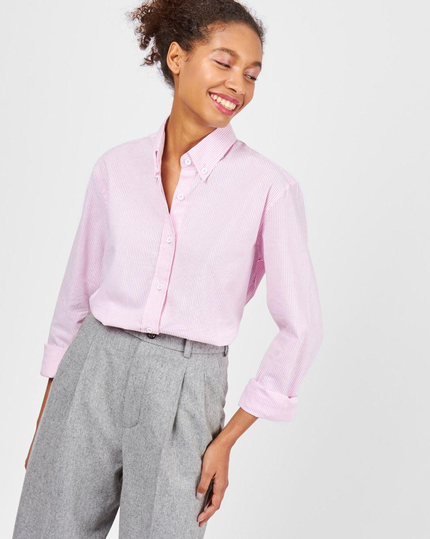 12Storeez Рубашка в мужском стиле (розовый в полоску)