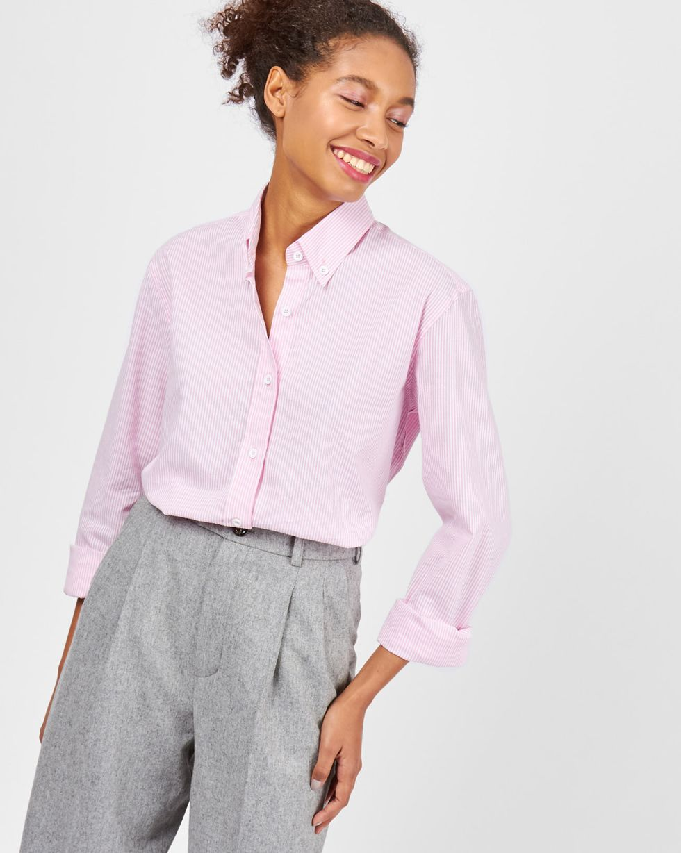 Рубашка мужского покроя в полоску MРубашки<br><br><br>Артикул: 230010854<br>Размер: M<br>Цвет: Розовый<br>Новинка: НЕТ<br>Наименование en: BOYFRIEND SHIRT