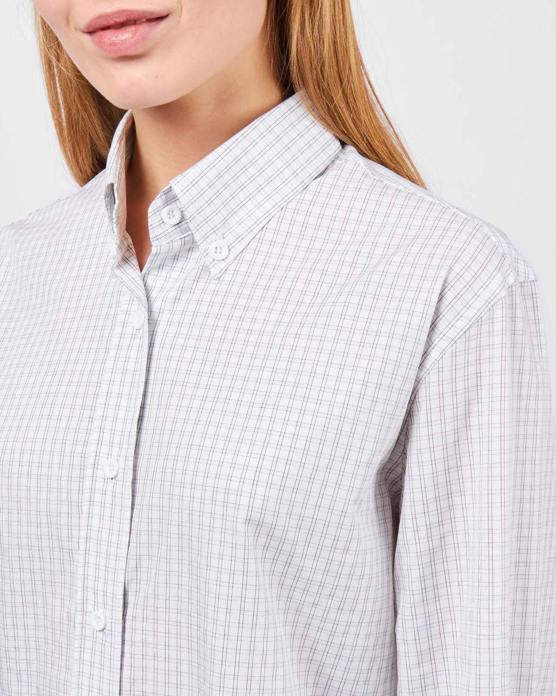 12Storeez Рубашка в мужском стиле (белый в мелкую клетку)