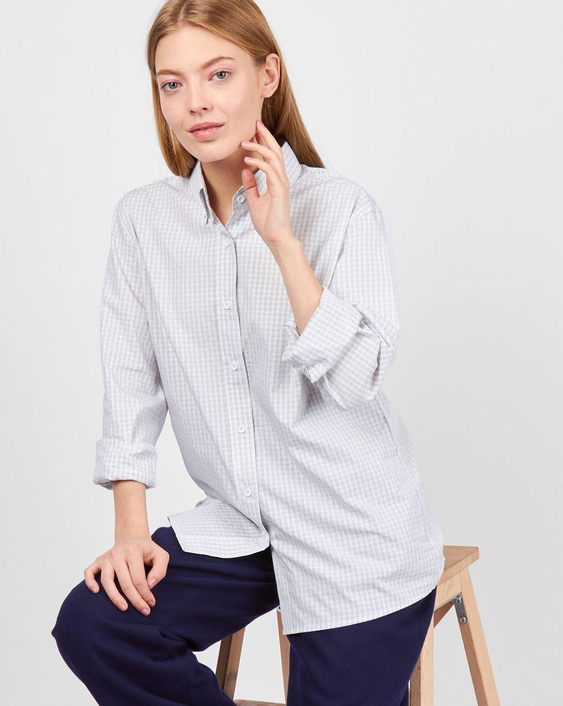 12Storeez Рубашка мужского покроя в мелкую клетку (белый) 12storeez рубашка с карманами в мелкую клетку белый