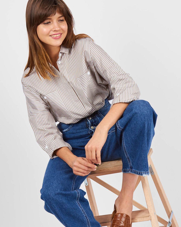 12Storeez Рубашка с карманами в полоску (коричневый)