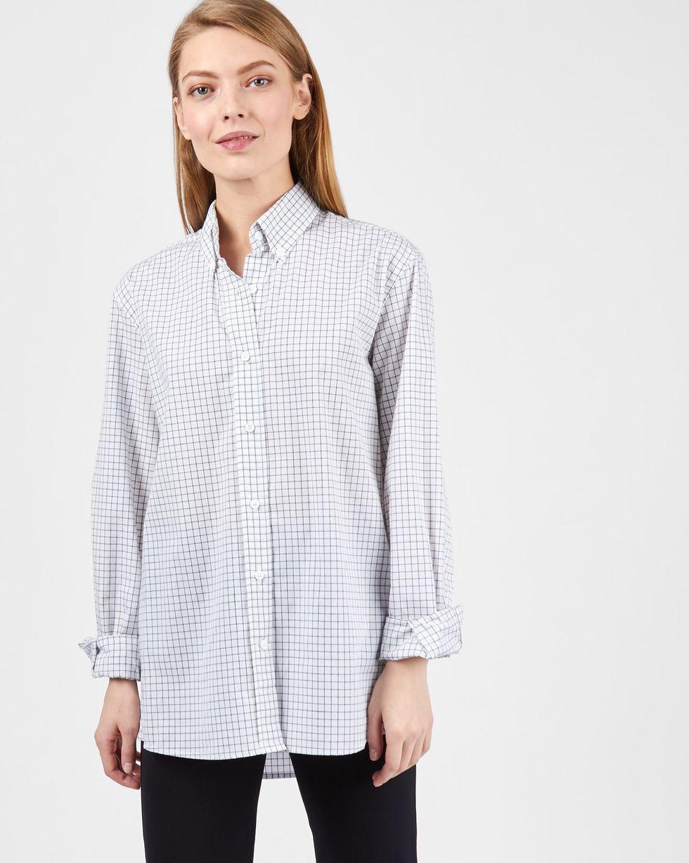 12Storeez Рубашка мужского покроя в клетку (бело-черный) blog