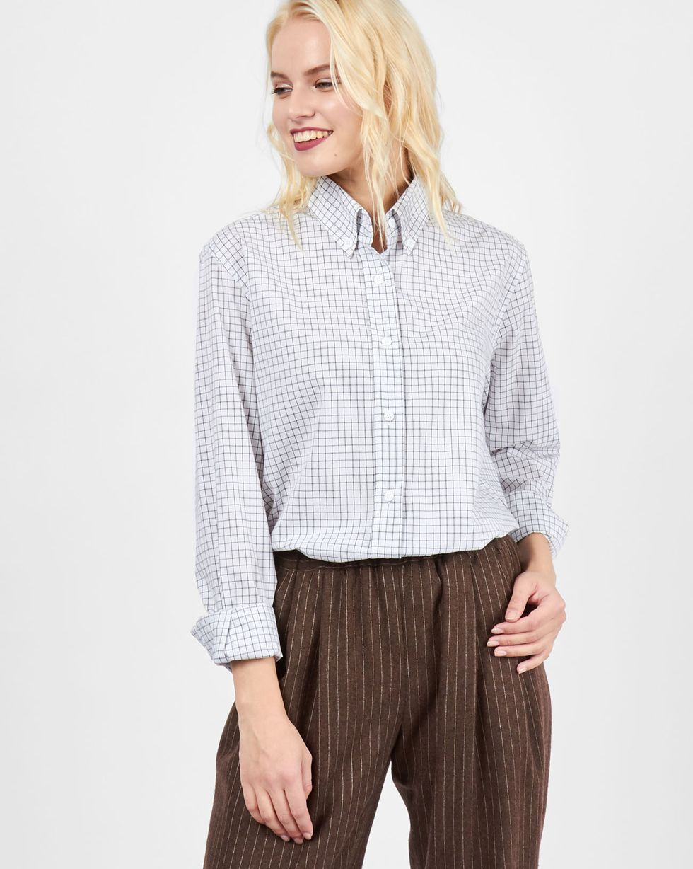 Рубашка мужского покроя в клетку SРубашки<br><br><br>Артикул: 230011750<br>Размер: S<br>Цвет: Белый в клетку<br>Новинка: ДА<br>Наименование en: Check boyfriend shirt
