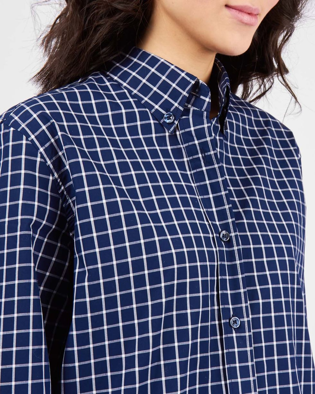Рубашка мужского покроя в клетку MРубашки<br><br><br>Артикул: 230011751<br>Размер: M<br>Цвет: Синий в клетку<br>Новинка: НЕТ<br>Наименование en: Check boyfriend shirt