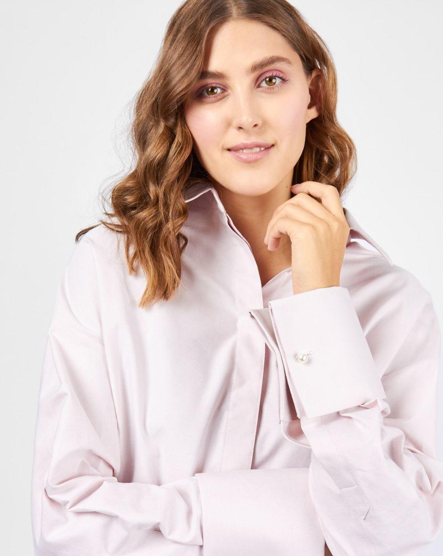 12Storeez Рубашка объемная с широкими манжетами (розовый) объемная вышивка с бисером