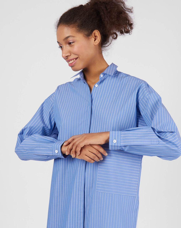 Фото - 12Storeez Рубашка удлиненная в тонкую полоску (голубой) 12storeez рубашка удлиненная в мелкую полоску
