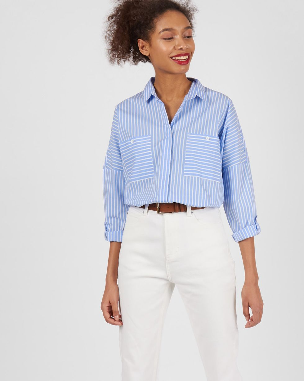 Рубашка с карманами в полоску One sizeРубашки<br><br><br>Артикул: 230013035<br>Размер: One size<br>Цвет: Голубой в полоску<br>Новинка: НЕТ<br>Наименование en: Stripe oversized shirt