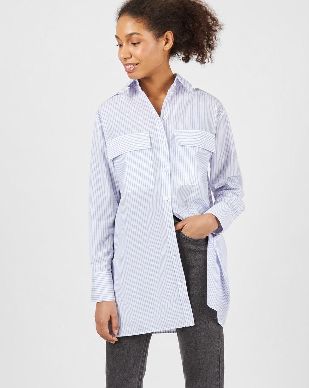 Рубашка с погонами в полоску S