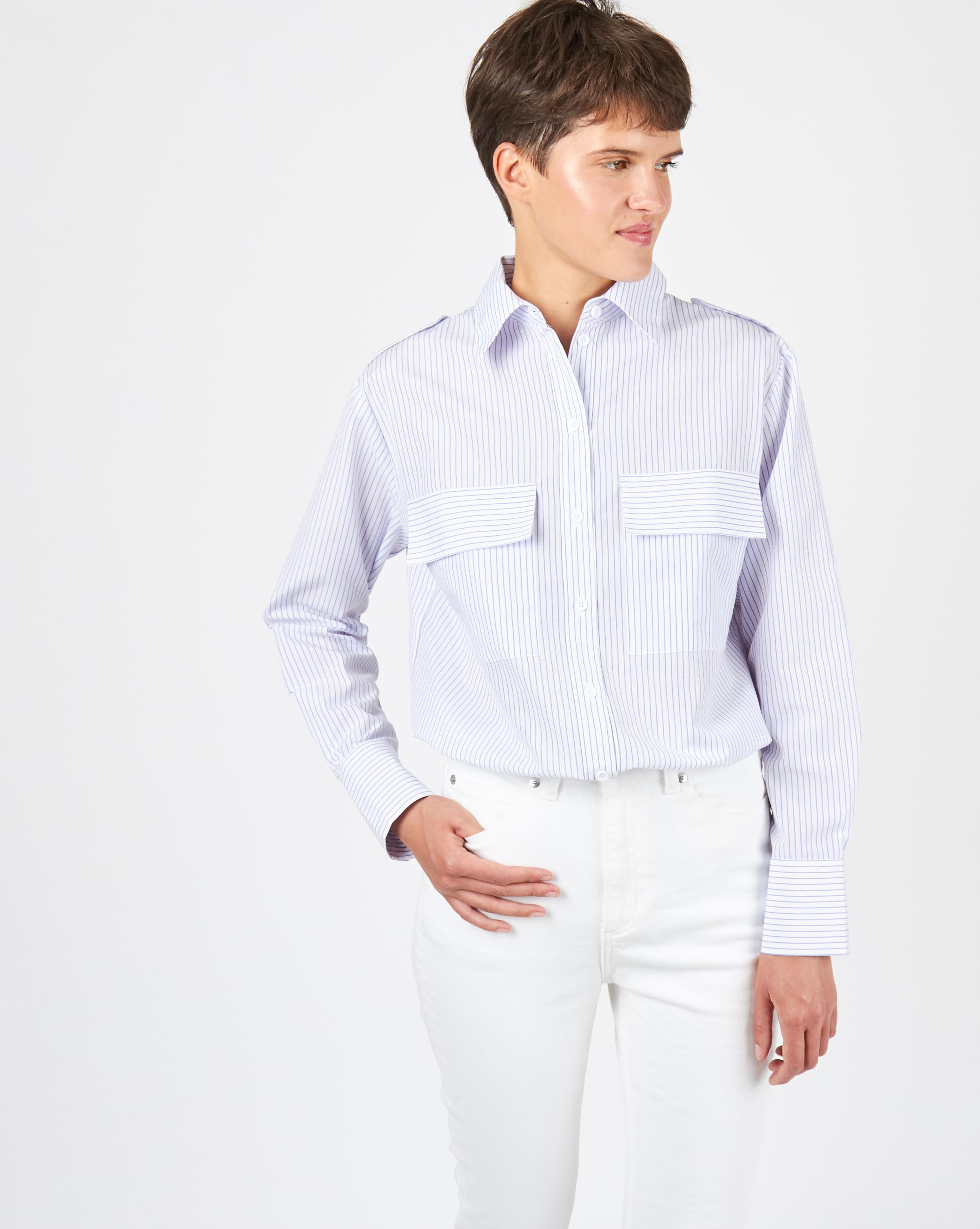 12Storeez Рубашка с погонами в полоску (белый/сиреневый)