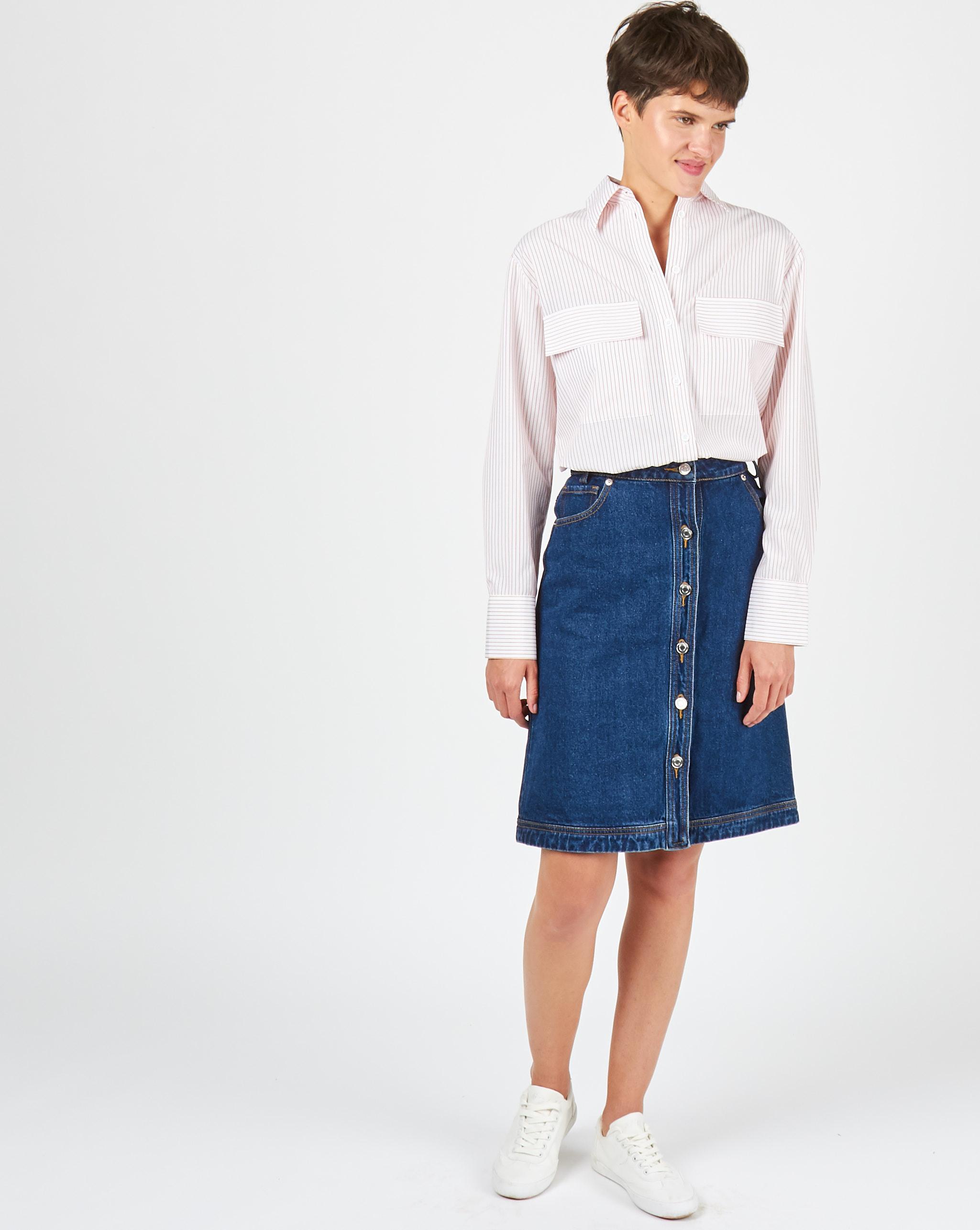 12Storeez Рубашка с погонами в полоску (белый/рыжий)