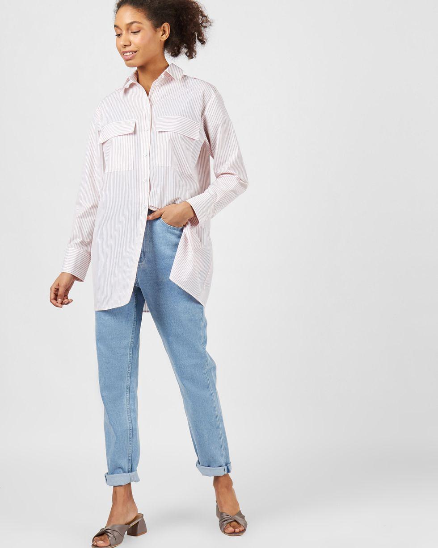 Рубашка с погонами в полоску SРубашки<br><br><br>Артикул: 230013040<br>Размер: S<br>Цвет: Белый/Рыжий<br>Новинка: НЕТ<br>Наименование en: Pinstripe shirt with shoulder straps