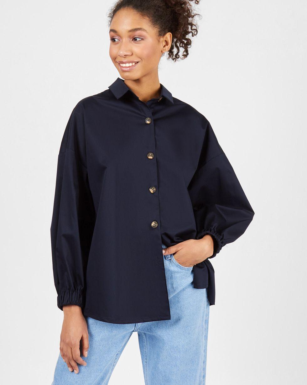 Рубашка из плотного хлопка One sizeРубашки<br><br><br>Артикул: 230013173<br>Размер: One size<br>Цвет: Темно-синий<br>Новинка: НЕТ<br>Наименование en: Puff sleeve cotton shirt