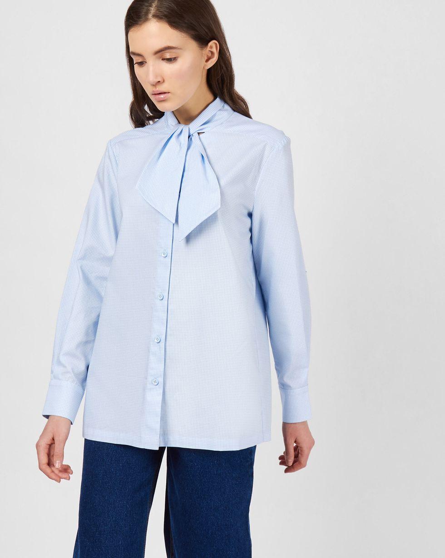 Рубашка с укороченным бантом SРубашки<br><br><br>Артикул: 230013620<br>Размер: S<br>Цвет: Голубой<br>Новинка: НЕТ<br>Наименование en: Tie neck blouse