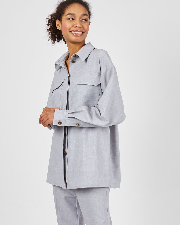 12Storeez Рубашка с накладными карманами (светло - серый)