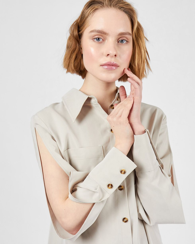 Рубашка с разрезами на рукавах S