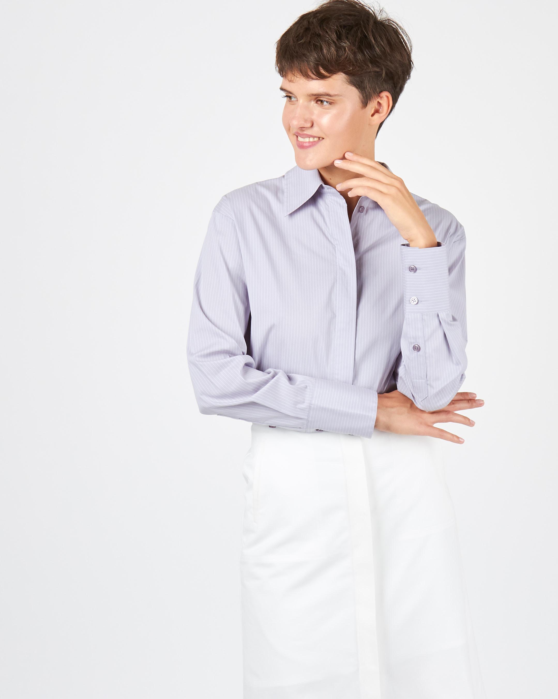 Фото - 12Storeez Рубашка объемная (светло-серый) 12storeez рубашка удлиненная в мелкую полоску