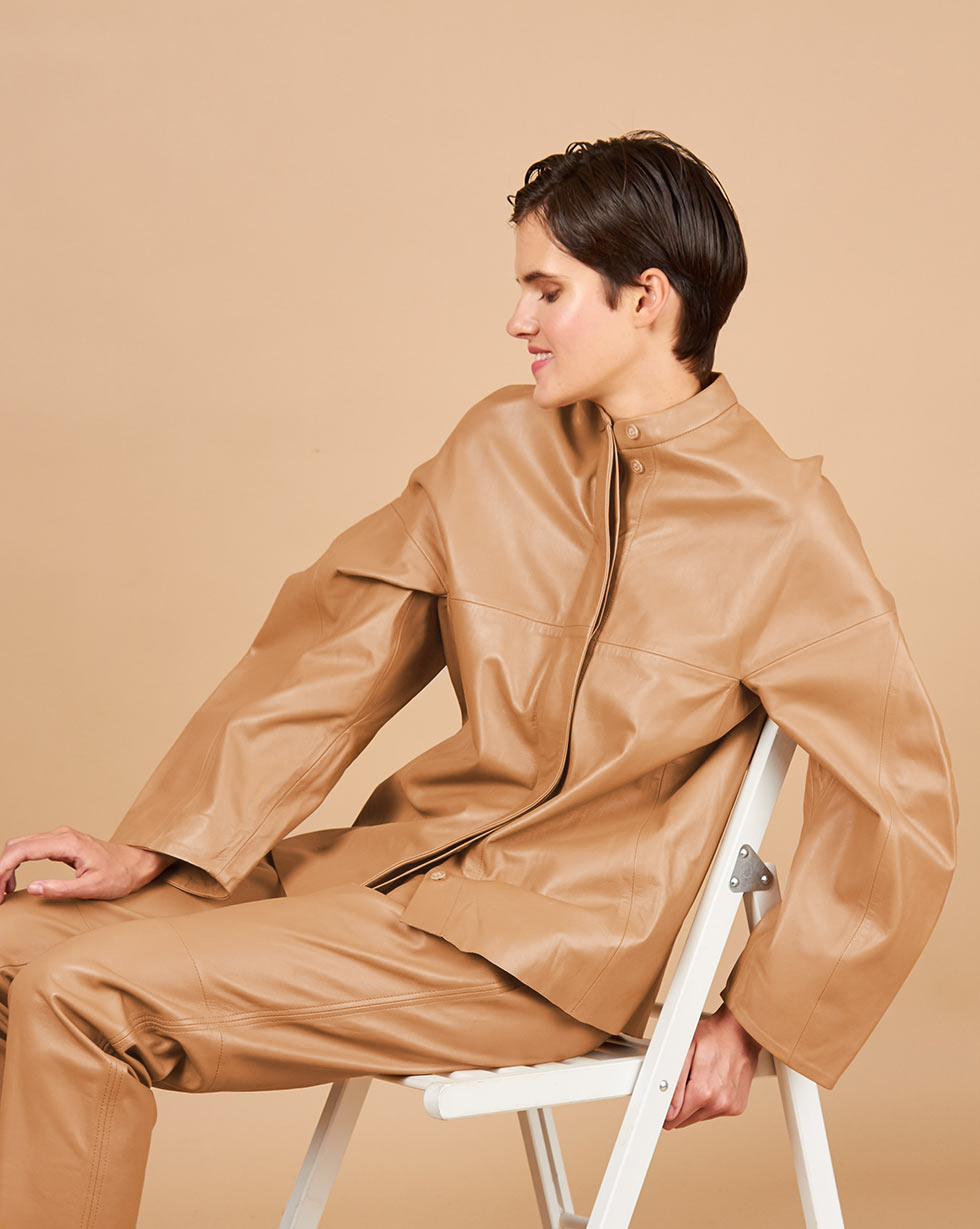12Storeez Рубашка кожаная (бежевый) 12storeez рубашка из лакированной кожи черный