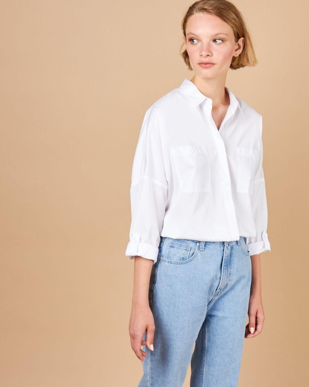 12Storeez Рубашка с карманами однотонная (белый в полоску) 12storeez рубашка с карманами в мелкую клетку белый