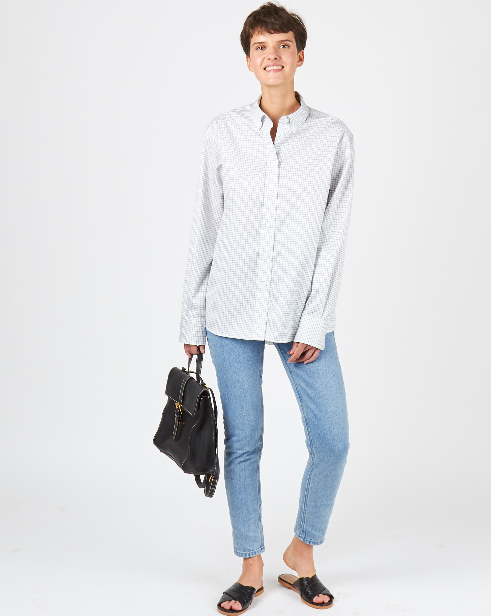 12Storeez Рубашка в мужском стиле (белый в черную клетку)